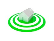 3D illustration of a white house in the centre of a glossy green target.
