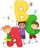 Illustration of Kids Holding Giant Letters _ eps8