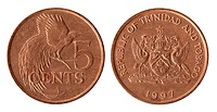 Trinidad and Tobago coin on the white background 1997 year