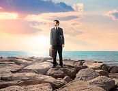 Businessman standing on a rock with seascape in the background