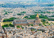 View from Eiffel tower at Invalides house and Notre dame, France Paris