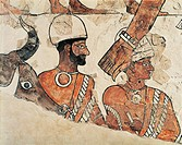 Detail of a fresco depicting a sacrifice, from the Palace of Zimrilin, from Mari (now Tell Hariri) archeological site, Syria. Assyrian civilisation, 1...