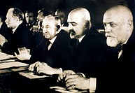 Four of the founders of Soviet healthcare, photographed in 1936, in Russia. From left to right: Nikolai Nilovich Burdenko 1876_1946, surgeon and neuro...