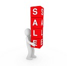 3d sale human red cube sell business discount