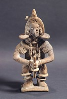 Statuette depicting a player of pelota, artifact originating from Mexico. Colima Civilization, 3rd_9th Century