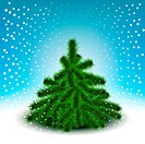Little fluffy Christmas tree on snowy background color of sky