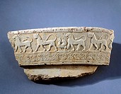 Pithos fragment showing animals in relief, protocorinthian pottery, Greece. Greek Civilization, 7th Century BC.  Argos, Museum (Archaeological Museum)