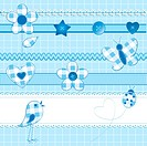 A set of 15 scrapbook elements: flowers, ribbons, buttons, ladybug and bird on a checkered background. Blue color, perfect for baby boy themes.AI 10 f...