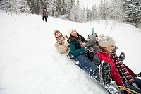 Adults enjoying some tobogganing