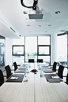 Board room prepared for conference