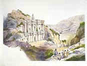 Jordan. Roman Petra. Reconstructed monastery Ad-Dayr (El Deir). Color illustration