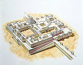 Irak. Assyrian Dur Sharrukin (Modern Khorsabad). Reconstructed palace of Sargon II. Color illustration