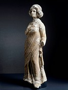 Female figure in limestone, marble and stucco, lateral view. Artefact from Seleucia, Iraq. Parthian Civilization, 1st-2nd Century.  Bagdad, National I...