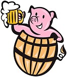 Illustration of a pig pork in barrel with beer mug