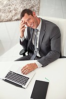 Smiling businessman working in office (thumbnail)