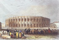 The Arena of Nimes (amphitheater), coloured engraving. France, 19th Century.  Paris, Bibliothèque Des Arts Decoratifs (Library)