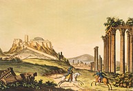 View of Athens, 1827, by Giulio Ferrario (1767-1847), engraving from the Ancient and Modern Costumes, Milan, Italy. Greek Civilization, 19th Century. ...