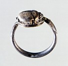Silver ring with carved scarab from Locri, Calabria, Italy. Goldsmith art. Ancient Greek civilization, Magna Graecia.  Reggio Di Calabria, Museo Nazio...