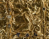 Gold foil with embossed decoration from Delphi (Greece). Detail: sphinx. Goldsmith art, Greek Civilization, ca 6th Century BC.  Delphi, Museum (Archae...