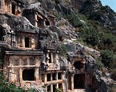 View of Lycian Period rock tombs near Mira, Turkey. Anatolian civilisation, 4th Century BC.