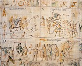 Battle between Indians and Spaniards, copy on canvas of the Code of Tlaxcala (Mexico) 18th Century.  Mexico City, Museo Nacional De Antropología (Anth...