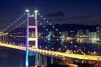 traffic highway bridge at night,hong kong