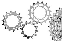 MTB chainrings on white background