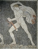 Alexander the Great and Hephaestion during a lion hunt, ca 320 BC, mosaic from the peristyle house 1 (The House of Dionysos), Room C, Pella, Greece. D...