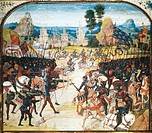 The Battle of Poitiers, miniature from a manuscript, France 15th century.  Paris, Bibliothèque Nationale De France (Library)