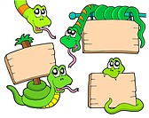 Snakes with wooden signs _ isolated illustration.