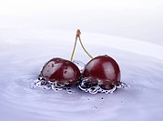 image of fresh cherry fruits in the water