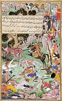 Akbar tiger hunting, miniature by Basawan from the Book of Akbar Akbarnama, India 16th Century.