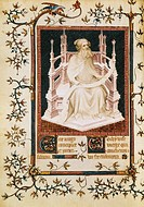 The prophet Isaiah, miniature from the Psalter, by Andre Beauneveu for the Duke of Berry, manuscript, France.  Paris, Bibliothèque Nationale De France...