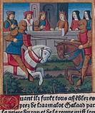 Knights' tournament in Camelot Kingdom, miniature of Sir Lancelot of the Lake, manuscript, France 15th Century.  Turin, Biblioteca Nazionale Universit...