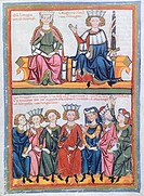 Miniature from the Codex Manesse, manuscript, 1304, Germany.  Heidelberg, Universitatsbibliothek Heidelberg (Library)