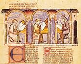 Maker of games' boards, miniature from The Book of Games by Alfonso X the Wise from Castilia, 1282, Spain.  El Escorial, Monasterio De El Escorial, Bi...