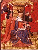 Charles V in his court, miniature from The Chronicle of Bertrand du Guesclin, manuscript, France, 15th Century.  Rouen, Bibliotheque Municipale De Rou...