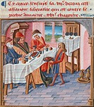 A lunch, miniature from the Book of Good Manners by Jacques le Grant, France 15th Century.  Chantilly, Château, Musée Condé (Picture Gallery And Art M...