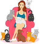 Illustration of a Woman Surrounded by Cats_ eps8