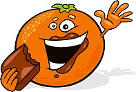 illustration of cartoon orange eating chocolate