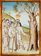 A wanted man hiding himself in a tree, miniature from a German translation of The Fables of Bidpai, 1480, manuscript, France 15th Century.  Chantilly,...