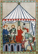 Knight with two women under a tent, 1304, miniature from the Manesse Code, folio 169 recto, Germany 14th Century.  Heidelberg, Universitatsbibliothek ...