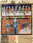 Banquet at the court of a king. Conspiracy and murder, miniature from Guyart des Moulins and Peter Comestor's Bible, manuscript, end 13th Century-begi...