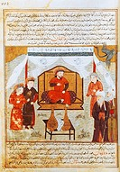 Hulagu Khan on the throne, miniature from a Persian manuscript, manuscript 1113 folio 113, Persia  Paris, Bibliothèque Nationale De France (Library)