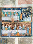 Royal banquet, miniature from Guyart des Moulins and Peter Comestor's Bible, manuscript, end 13th Century-beginning 14th Century.  Montpellier, Musée ...