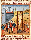 Torture and martyrdom of Calixten Cephobe, miniature from a medieval manuscript, France 14th Century.  Rheims, Bibliothèque Municipale (City Library)