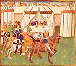 King Arthur feast in Camelot: the arrival of the knights, miniature from Roman de Tristan by Thomas of Britain, manuscript, France 15th Century.  Chan...