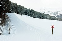 Freshly groomed empty cross_country ski track at French Alps