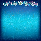 abstract floral ornament with flowers on grunge blue background, Image contains gradient mesh