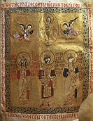 Constantine IX Monomakh, his wife Zoe of Byzantium and Byzantine Empress Theodora of Byzantium, miniature from a Byzantine manuscripts, 11th Century. ...
